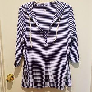 Calvin Klein hoodie sz XL blue/wht striped